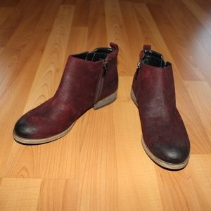 Franco Sarto A-HAVERLY 7M Ankle Boots Red Leather